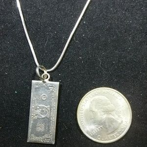 Jewelry - Sterling silver dollar bill pendant and chain